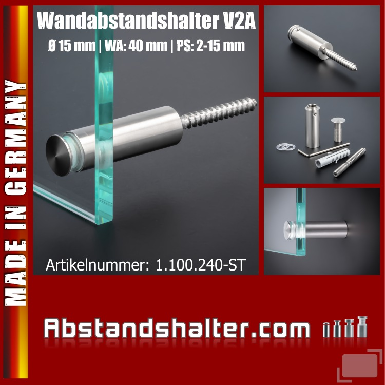 Wandabstandshalter V2A angeschrägt Kragen Ø 15mm WA: 40mm PS: 2-16mm