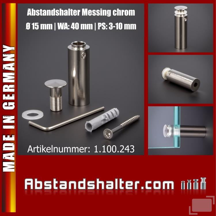 Abstandshalter Messing chrom angeschrägt Kragen Ø15mm WA:40mm PS:3-10mm
