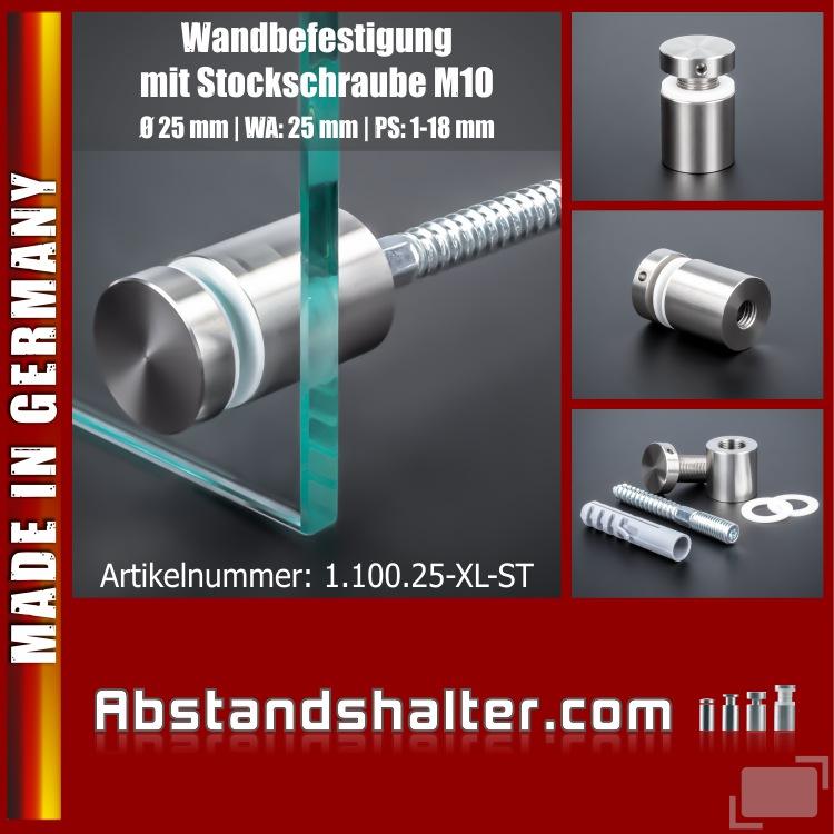 Schraubbare Wandbefestigung mit Stockschraube M10 | Ø 25x25 mm PS:1-18 mm