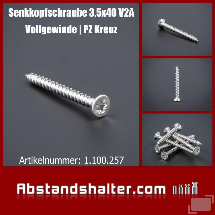 Schraube 3,5x40 mm Edelstahl V2A A2 Senkkopf Vollgewinde | Kreuz