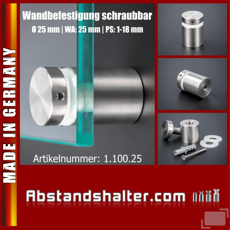 Wandbefestigung für Schilder schraubbar Ø 25 mm WA: 25 mm PS: 1-17 mm