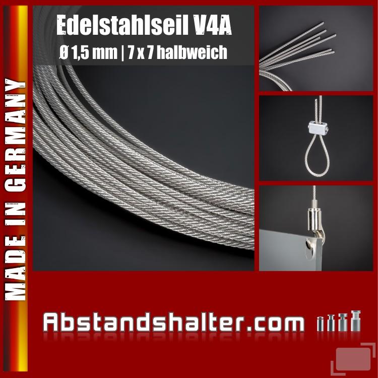 Edelstahlseil V4A Seilstärke: 1,5 mm | Deckenabhänger | Länge 1 m