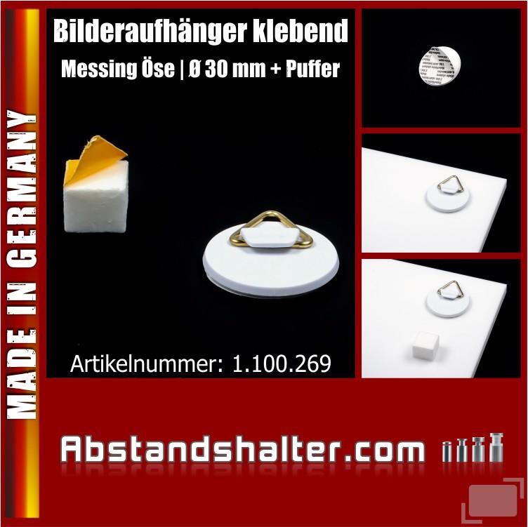 Bilderaufhänger Ø30mm Bilderhaken selbstklebend mit Puffer Schaumstoff