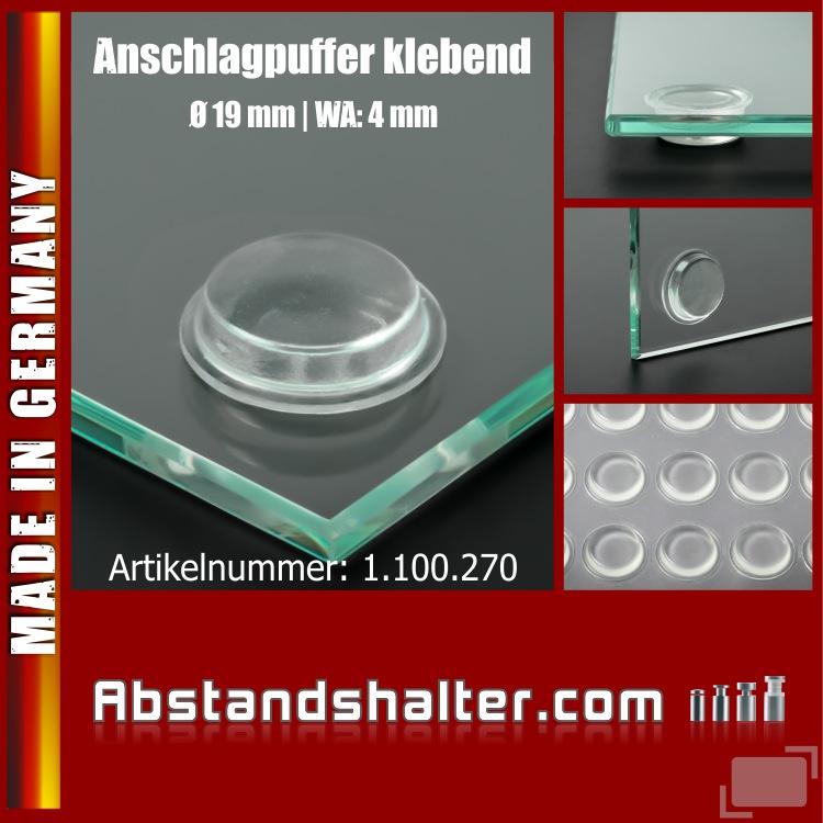 Anschlagpuffer Ø19x4mm selbstklebend Glasunterlage Gummi | transparent