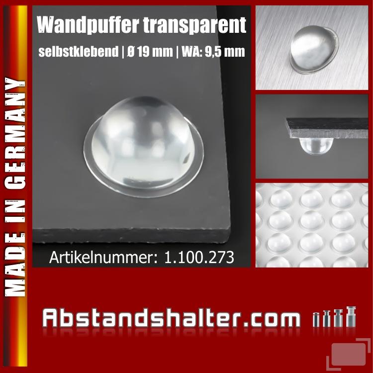 Wandpuffer Türpuffer 19mm selbstklebend | Tür-Klinken-Schutz | Türdämpfer | Gummipuffer