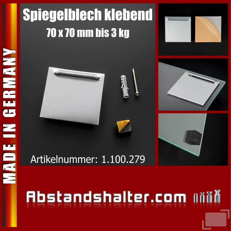 Lieferumfang: Spiegelbleche mit Wandpuffer bis 3 kg | Haftbleche 70x70 mm | klebend