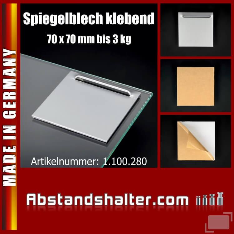 Spiegel-Blech mit Kieme bis 3 kg | selbstklebend Haft-Blech 70x70 mm