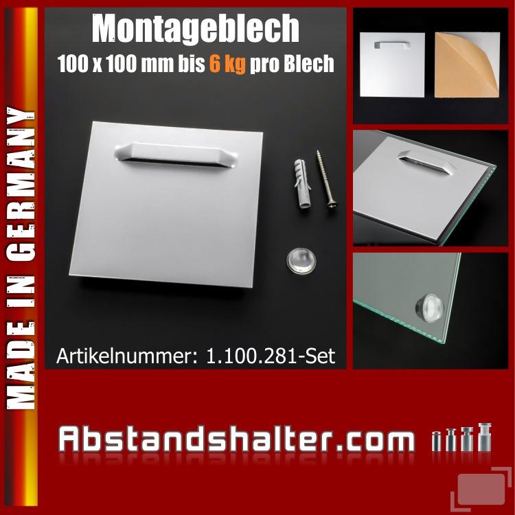 Montageblech für Spiegel + Puffer selbstklebend bis 6 kg | 100 x 100 mm
