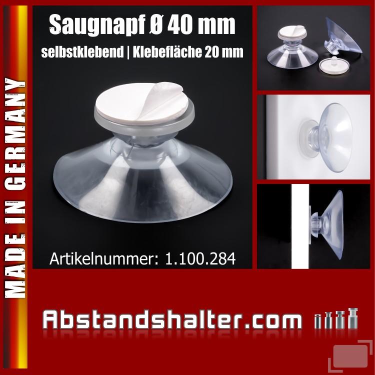 Saugnapf Ø 40 mm ohne Gewinde selbst-klebend | Saugnäpfe | Klebefläche
