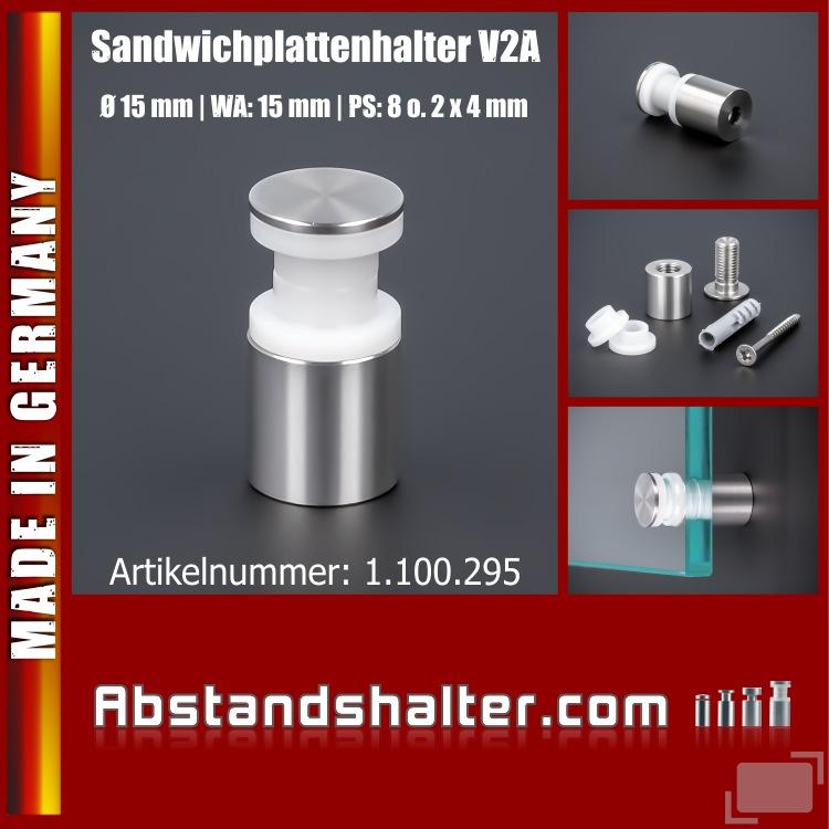 Sandwichplattenhalter schraubbar V2A Ø:15mm WA:15mm PS: 8mm o. 2x4mm