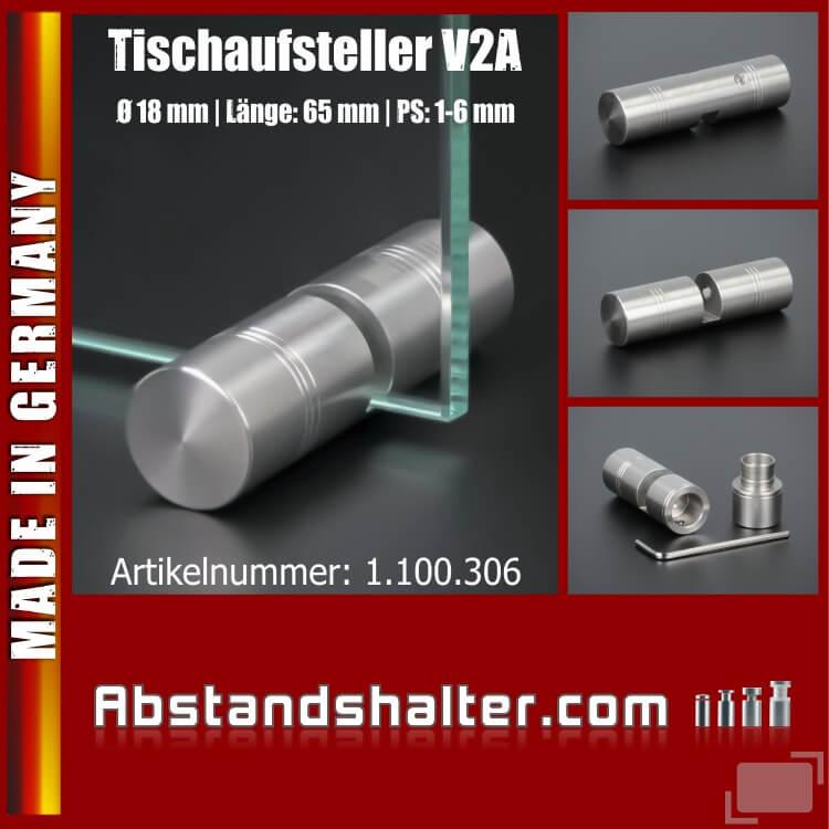 Tischaufsteller für Plexi-Glas-Platten Edelstahl Ø 18 mm PS: 1-6 mm