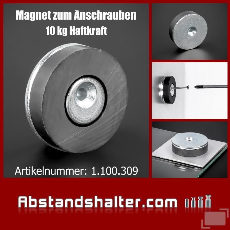 Spiegel-Haft-Magnet Ø45mm Haftkraft 10kg | Spiegelbleche | anschrauben