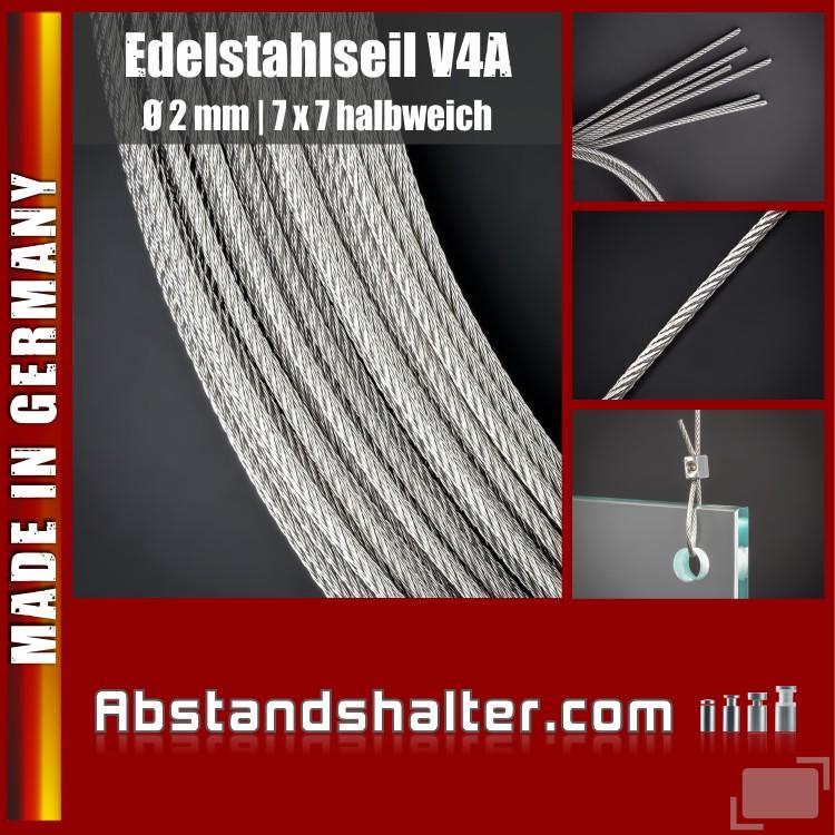 Edelstahlseile V4A 2mm | 7x7 halbweich | Plattenhalter | Länge 5 m