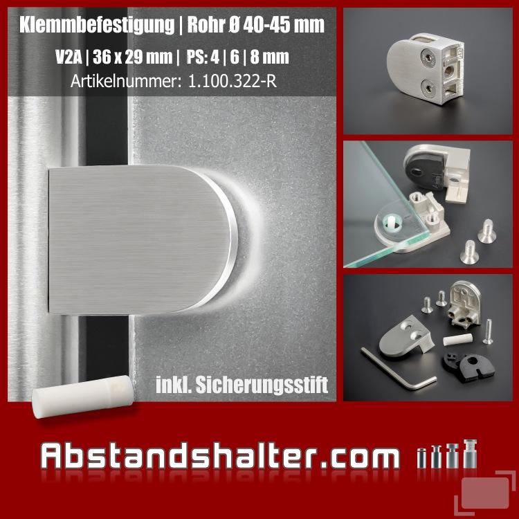 Klemmbefestigung+Stift Edelstahl V2A 36x29mm PS:4-8mm | Rohr Ø40-45 mm