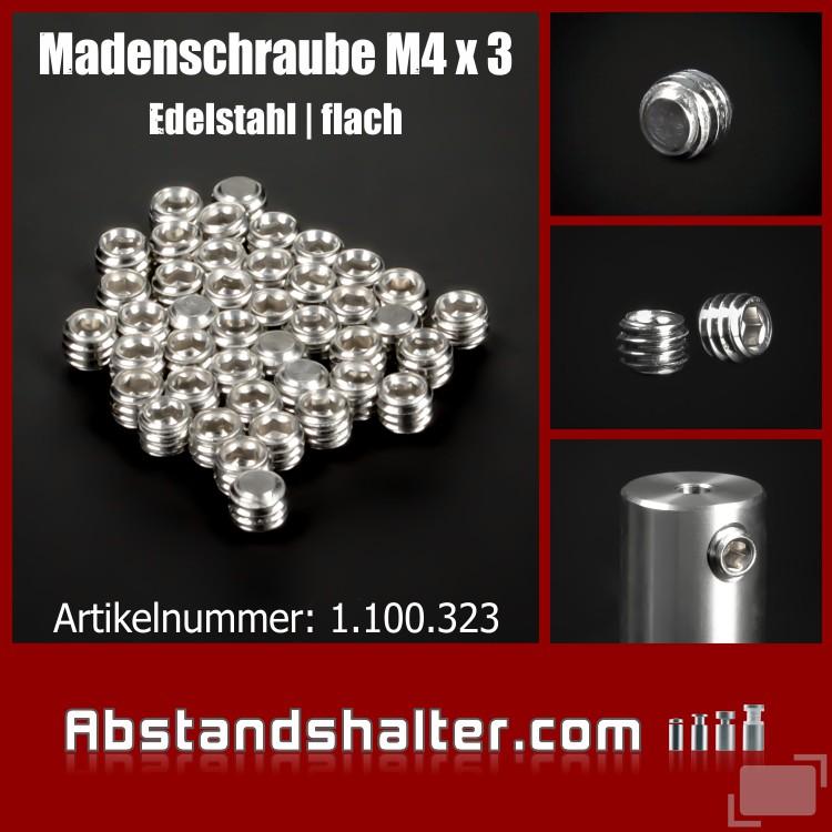 Madenschraube M4 x 3 mm | Sechskantschraube | Edelstahl | V2A | flach