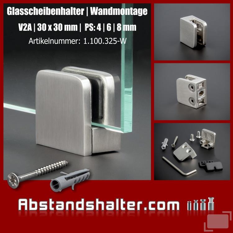 Glasscheibenhalter | Wandregalhalter 30 x 30 mm Edelstahl für Wandmontage