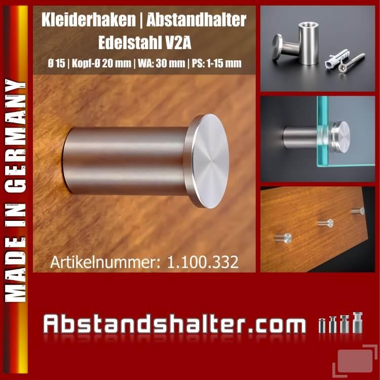 Kleiderhaken Edelstahl schraubbar WA 30 mm Ø 15 mm PS 1-15 mm