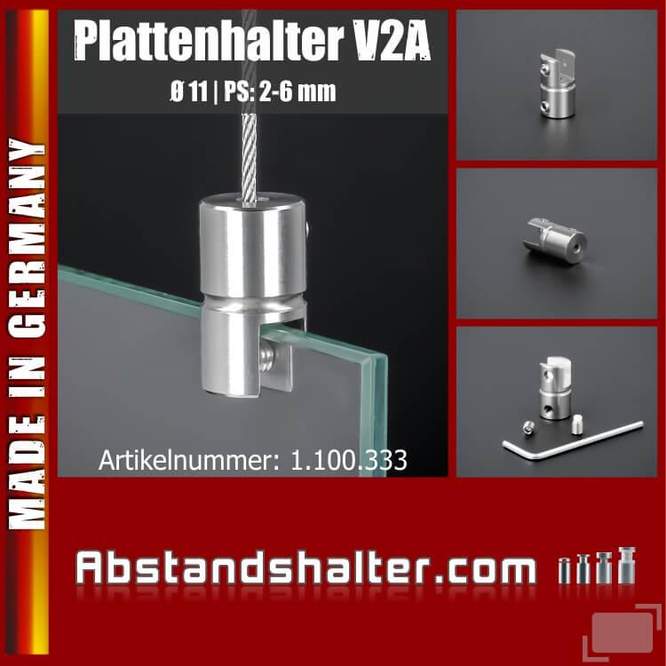 Plattenhalter Edelstahl für Seilbefestigung Ø 11 mm PS: 2-6 mm | V2A | Glasplatten | Plexiglas | Metallplatten | Acrylplatten