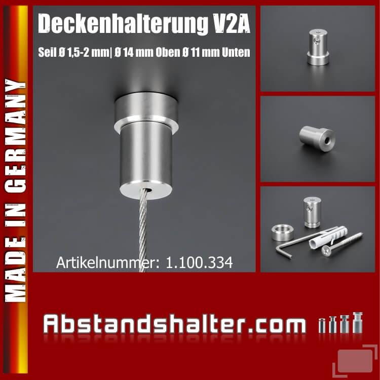 Deckenhalterung für Schilder Edelstahl V2A Seilbefestigung Ø 11 mm Länge 20 mm
