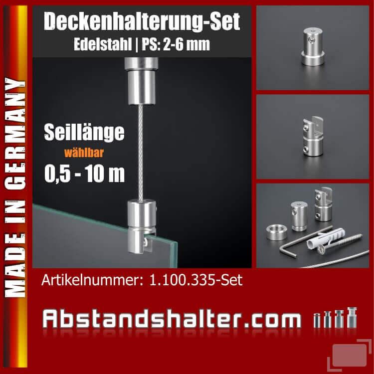 Deckenhalterung Set Edelstahl V2A Seilbefestigung, Ø 11 mm PS: 2-6 mm