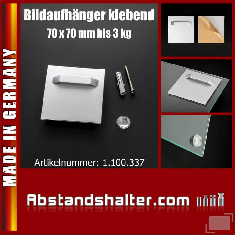 Bildaufhänger mit Wandpuffer bis 3 kg | Haftbleche 70x70 mm | klebend