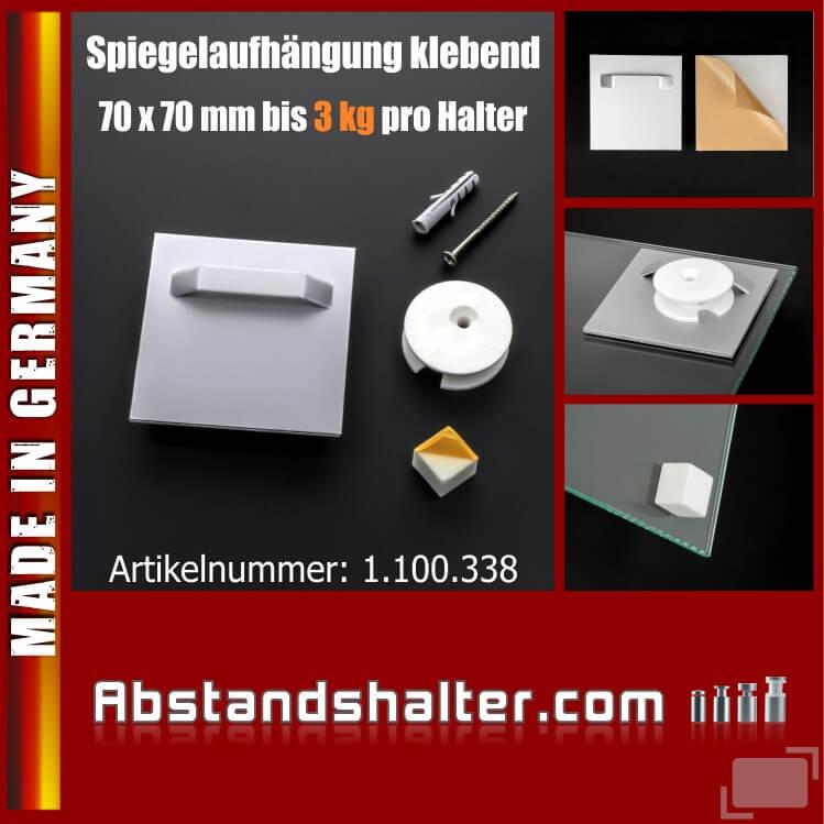 Glasplattenmontage mit Wandpuffer und Exzenterscheibe bis 3 kg 70x70