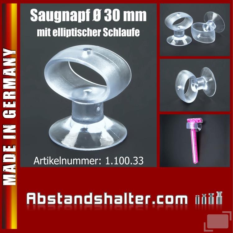 Saugnäpfe 30 mm mit elliptische Schlaufe | Zahnbürsten | Montagehilfe