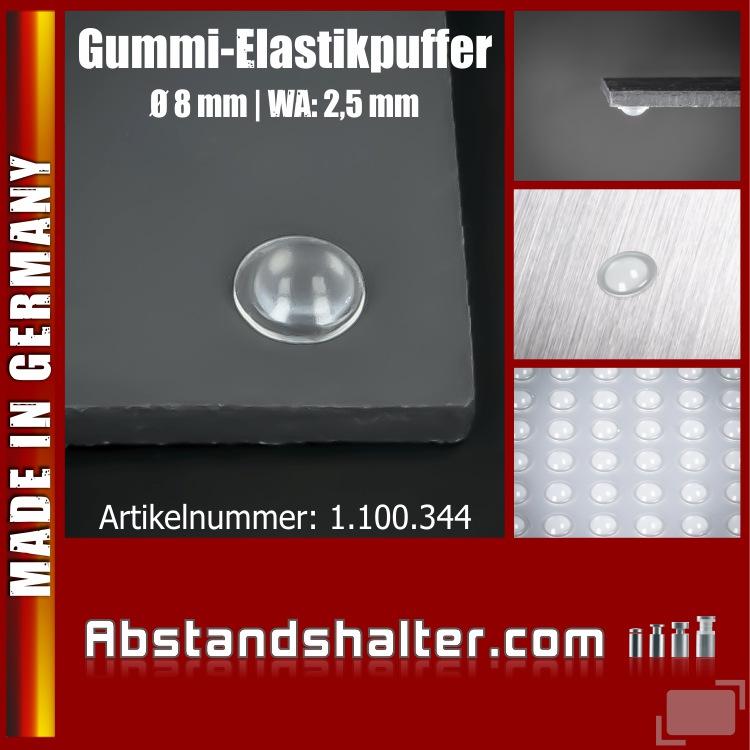 Lieferumfang: Elastik-Puffer klebend Ø 8mm WA: 2,5mm für Glasplatten | Möbel | Glas