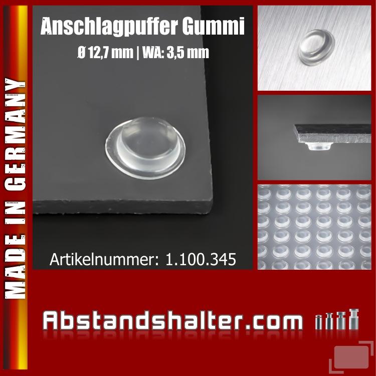 Anschlag-Puffer Gummi selbstklebend Ø 12,7 mm WA: 3,5 mm | Möbel | Türen