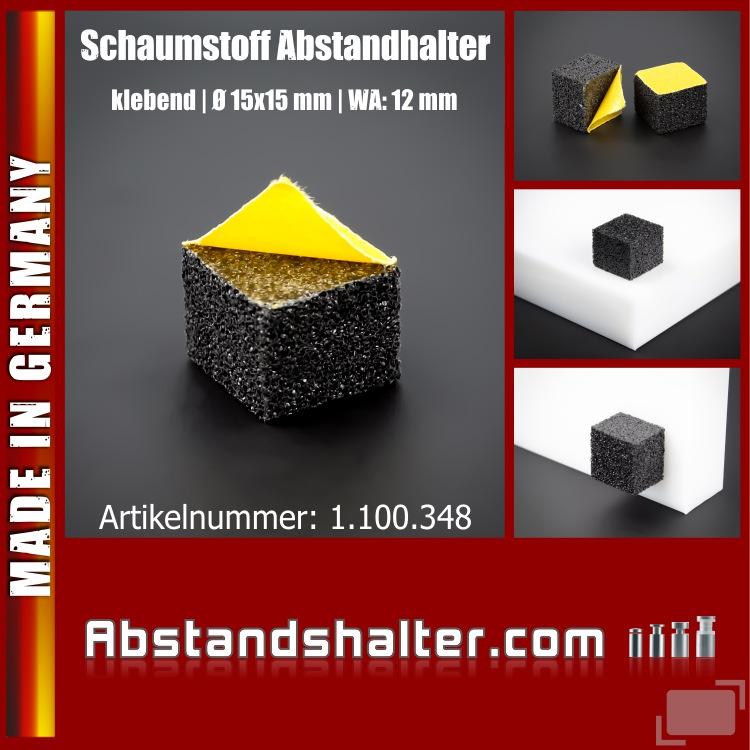 Schaumstoff Abstandhalter klebend Wandpuffer schwarz Ø15x15 | WA 12 mm