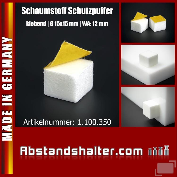 Schutzpuffer Schaumstoff selbstklebend Wandpuffer weiß Ø 15 x 15 mm WA: 12 mm