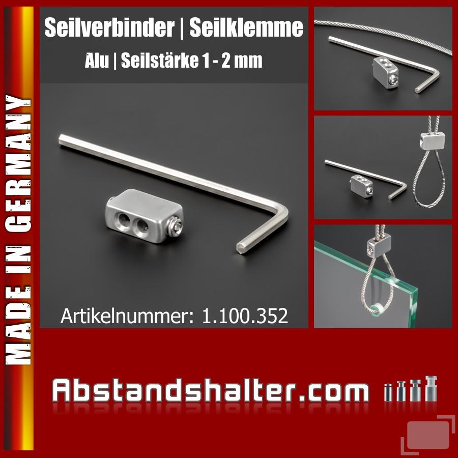 Seilklemme Seilverbinder Seilabhängung Edelstahl | Drahtseil Ø 1 - 2mm