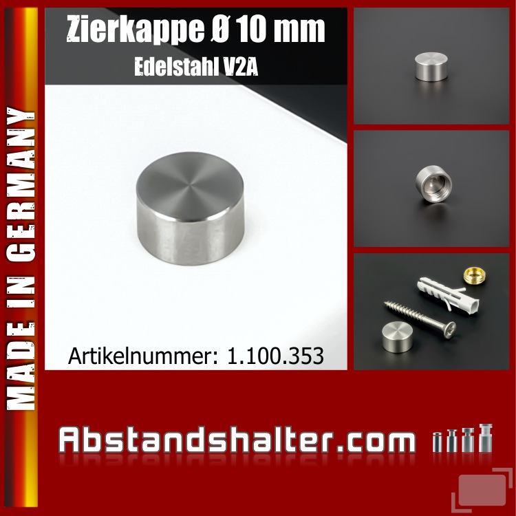 Zierkappe für Schrauben Edelstahl inkl. Gewindehülse flach Ø10mm | V2A