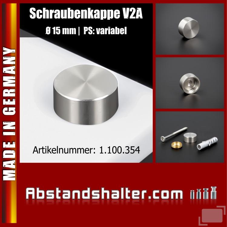Schraubenkappe Edelstahl inkl. Gewindehülse flach Ø 15 mm | V2A