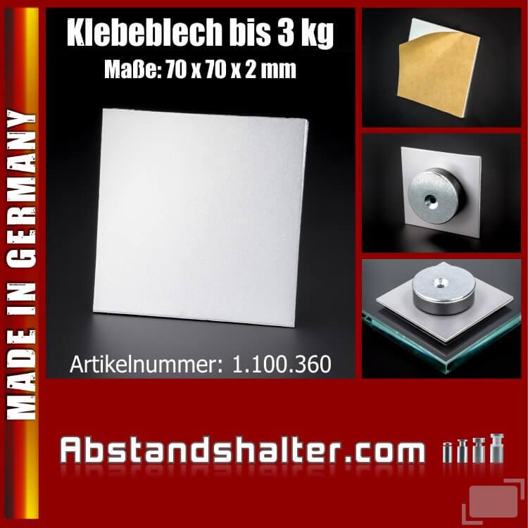 Klebeblech glatt 70x70x2 mm für Magnete Klebeplatte Aufhängung bis 3kg