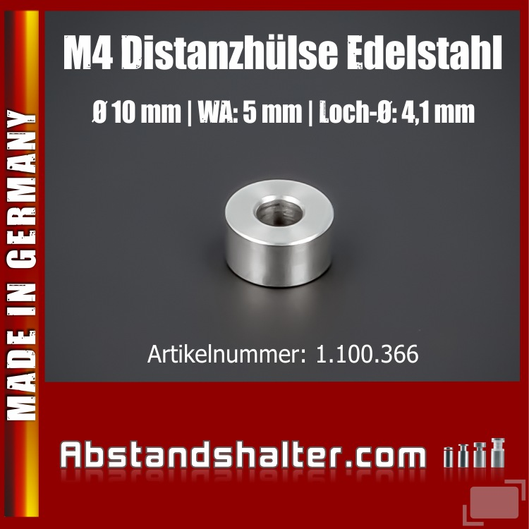 M4 Distanzhülse Abstandsstück Edelstahl Ø10mm WA:5mm L-Ø: 4,1mm | V2A