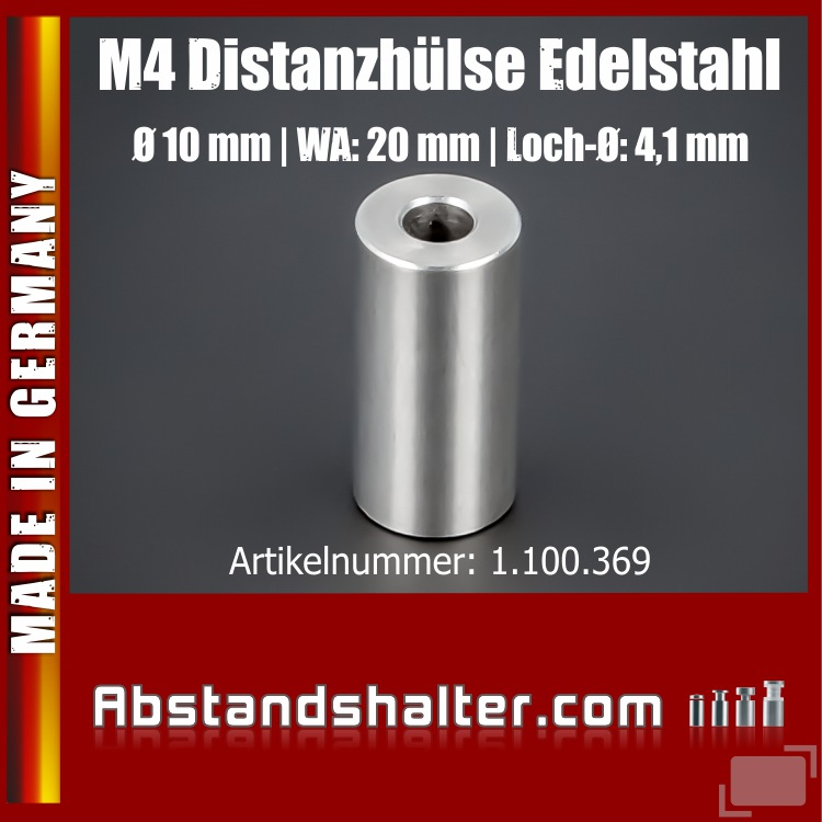 M4 Distanzhülse Abstandsrolle Edelstahl Ø10mm WA:20mm L-Ø:4,1mm | V2A