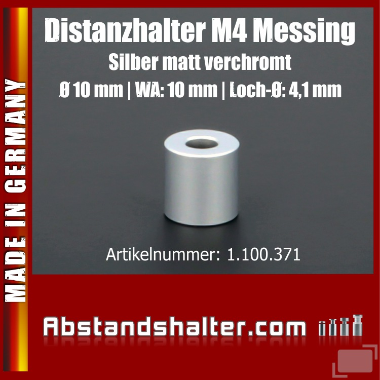Distanzhalter M4 Messing matt Ø10mm WA:10mm L-Ø:4,1mm | Silber