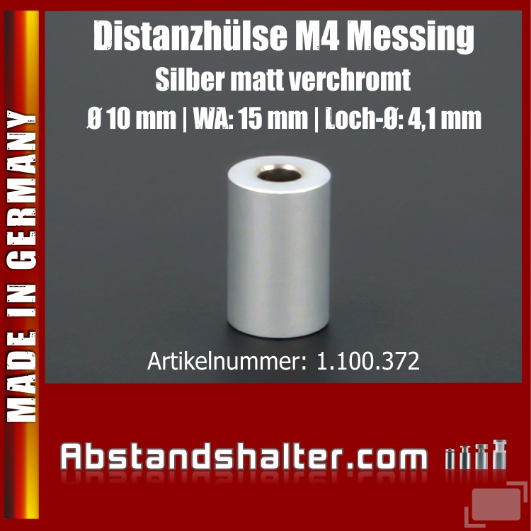 Distanz-Hülse M4 Messing matt Ø10mm WA:15mm L-Ø:4,1mm | Silber