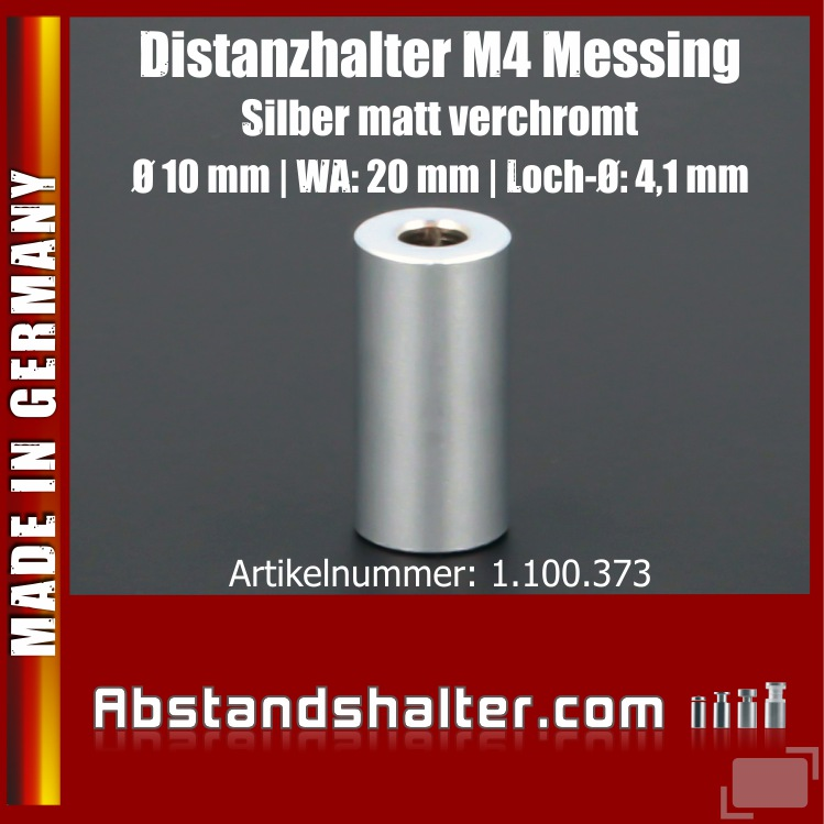 Distanzhalter M4 Messing matt Ø10mm WA:20mm L-Ø:4,1mm | Silber