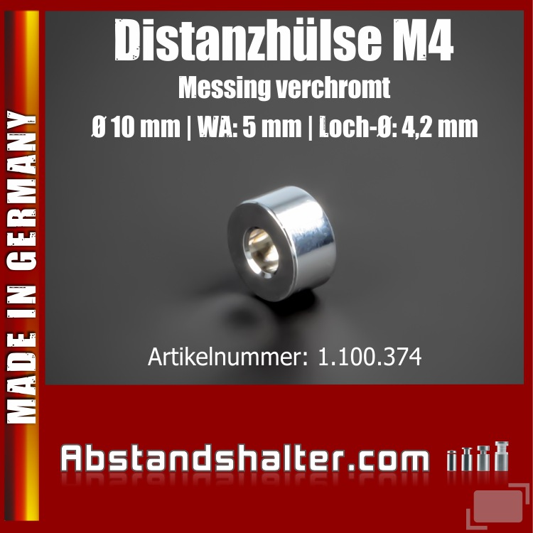 Distanzhülse M4 Messing glanz verchro. Ø10mm WA:5mm L-Ø:4,2mm Chrom
