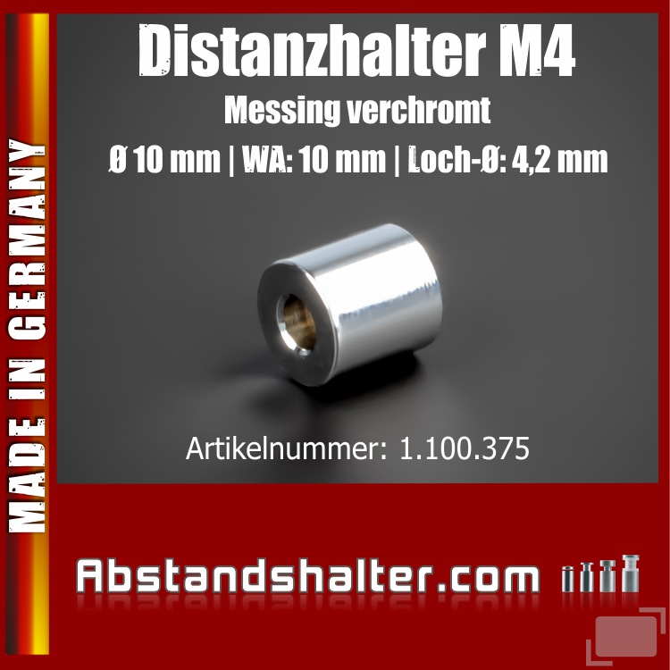 Distanz-Halter M4 Messing glänzend Ø10 mm WA:10 mm L-Ø:4,2 mm | Chrom