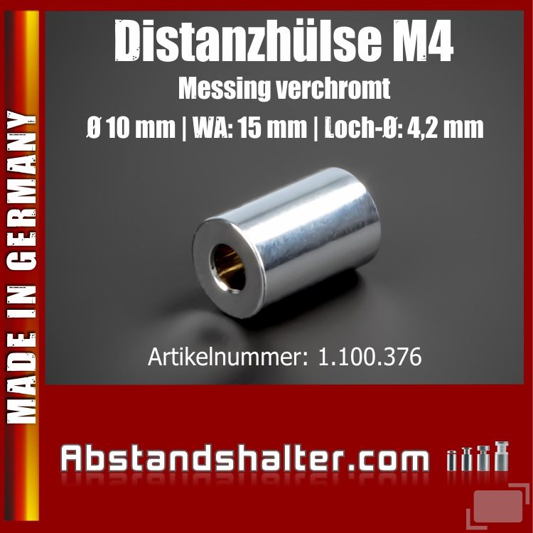 Distanz-Hülse M4 Messing glänzend Ø10 mm WA:15 mm L-Ø:4,2 mm | Chrom