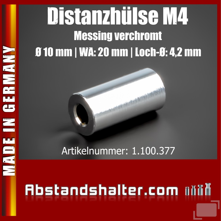 Distanz-Halter M4 Messing glänzend Ø10mm WA:20mm L-Ø:4,2 mm | Chrom