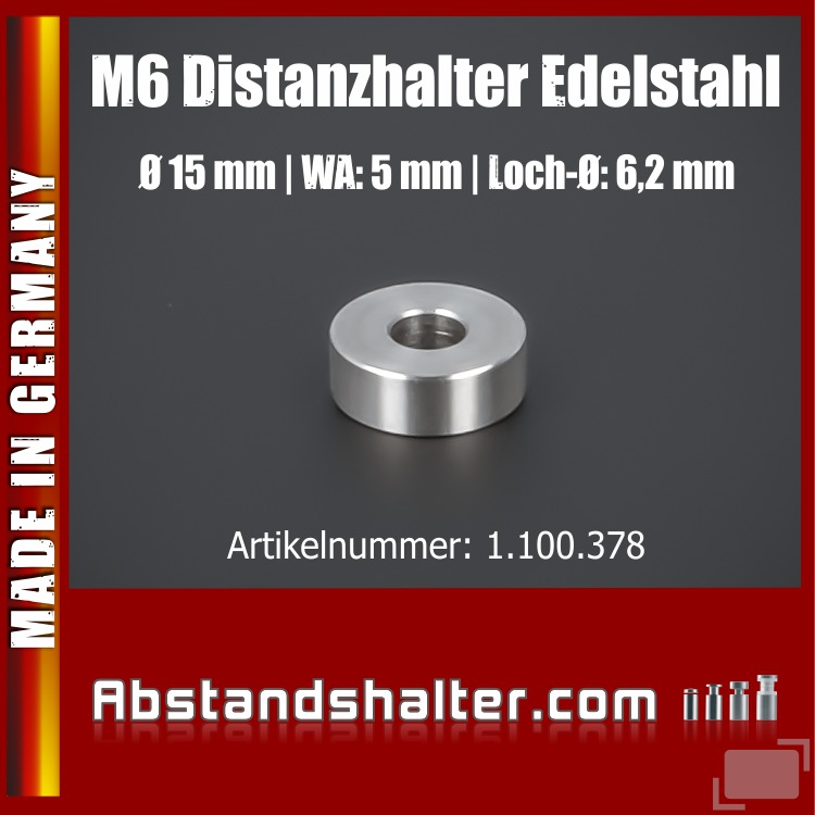 Lieferumfang: Distanz-Ring Distanzhülse Edelstahl Ø15x10 mm L-Ø:6,2 mm | V2A | M6