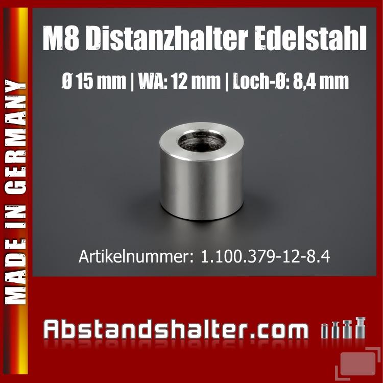 Distanz-Ring Edelstahl Ø15 mm WA:12 mm L-Ø:8,4 für M8 Schrauben | V2A