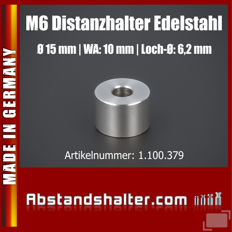 Distanz-Ring Distanzhülse Edelstahl Ø15x10 mm L-Ø:6,2 mm | V2A | M6