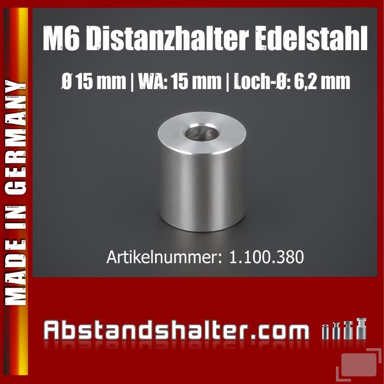 Distanzring Abstandsstück Edelstahl Ø15x15 mm L-Ø:6,2 mm | V2A | M6