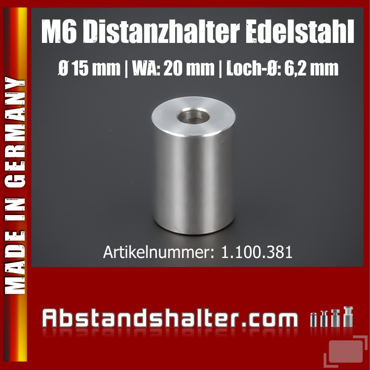 Distanzring Abstandshülse Edelstahl Ø15x20mm L-Ø:6,2mm | Hülse M6 V2A