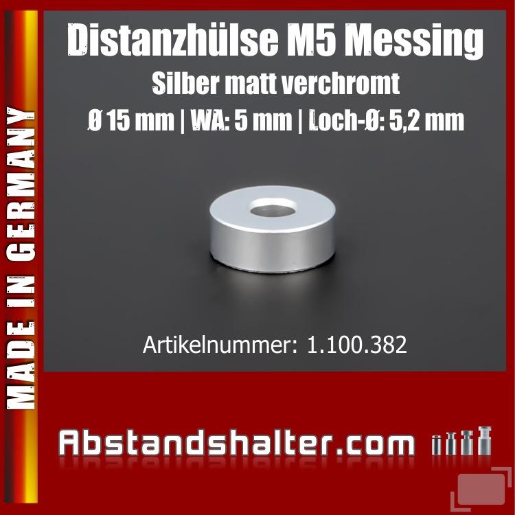 Distanzhülse M5 Edelstahl matt verchromt Ø15x5 mm L-Ø:5,2 mm | Silber